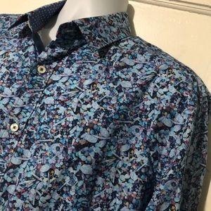 Bugatchi Uomo Men's Large Shaped Fit Blue Floral